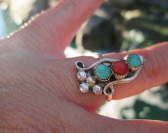 Turquoise, Coral and Sterling Silver Ring Size 5.5
