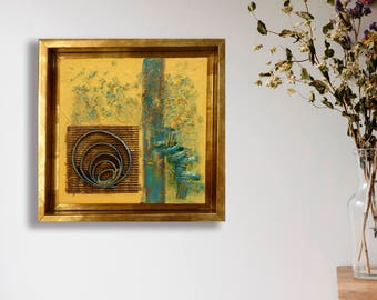 Modern Abstract Art, Square Gold frame, Yellow abstract, Original painting, Abstract home decor, Abstract wall art, Contemporary art gift
