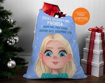 Santa sack personalized, mail post bag, toy storage, girl Christmas stocking, child's portrait & name