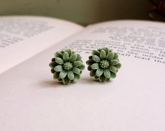 Sage green Flower Cabochon earrings Lucite flower stud earrings Titanium Post made in USA