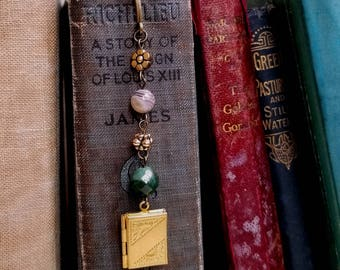 Gemstones Locket charm bookmark Beaded bookmark Antique gold Boho bookmark Jewelry bookmark