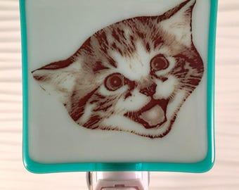 Happy Cat Night Light Fused Glass Smiling Kitten