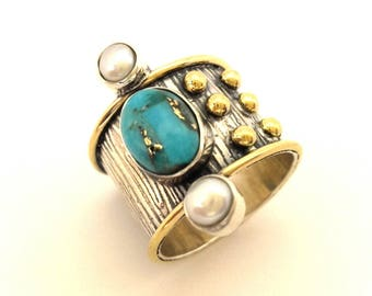 Ring Victorian Style Vintage Two Tone Silver 925 Gold Plated 14K Blue Turquoise Pearl Genuine