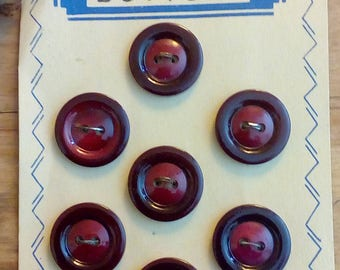 Sterling Vintage Maroon  Buttons