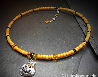 Orange Choker, Pumpkin Necklace, Jack O Lantern Necklace, Halloween Pumpkin Choker, Orange Bead Necklace, Gift For Her, Gothic Choker, Gifts