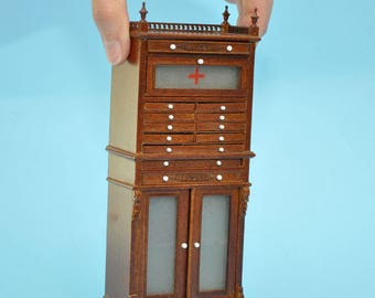 Medical doctor dentist cabinet Fine Quality walnut shelves dollhouse miniature 1:12 scale Y3315 WN