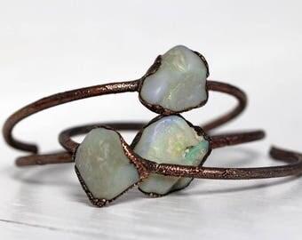 Opal Bracelet Stacking Bracelet Electroformed Bracelet Raw Australian Opal Jewelry Copper Bangle Electroformed Jewelry Copper Bracelet
