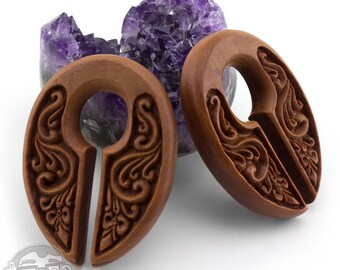 Ornamental Keyhole Wooden Ear Weights / Hangers