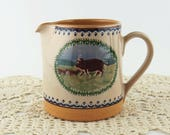 Vintage Nicholas Mosse Pottery 4 1/2 Inch Pitcher Made in Ireland Landscape Pig Pattern Hand Painted Brown Pig and Piglets