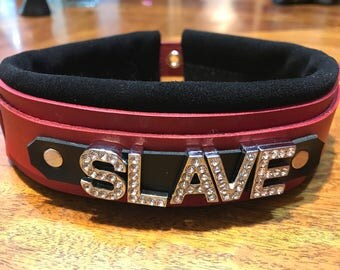 Multi layer Leather slave collar- custom -any word/name-personalized- cuff