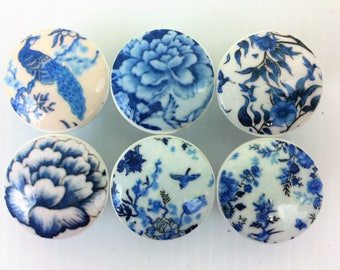 Set of 6 Blue and White Iznik Pottery Print Cabinet Knobs