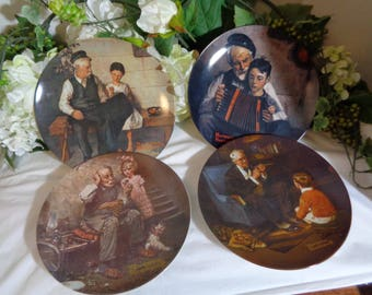 Norman Rockwell Collection of 4 The Music Maker,  Cobbler, Lighthouse Keeper's Daughter, Tycoon Display Plate Wedding House Warming Gift