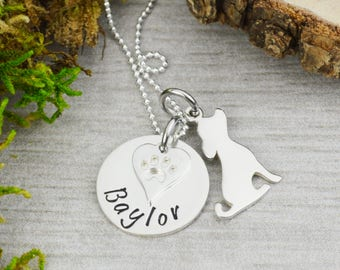 Personalized Pet Necklace with Dog Charm in Sterling Silver
