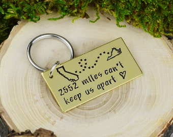 Custom Long Distance Keychain • Choose Your Miles • Long Distance Love • Family and Friend Gift