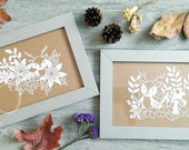 Set of Two Handmade Paper-cut Art, Papercut Deer, Handcut Paper Art of Forest Animals, Scherenschnitte, Wall Art, Planner Decor, Room Decor