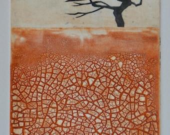 Windswept - Tree, wind, windy, cracked earth, orange