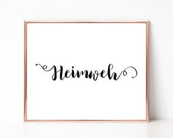 Heimweh Print, Modern Word Art Print, Wall Art, Printable Wall Art, Typography, Art Print, Instant Download, Home Decor