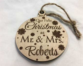 Personalized Our First Married Christmas Ornament, Wooden Ornament, Ornament, Custom, Engraved, Couple Gift, Just Married, Gift,