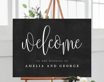 2 Sizes Wedding Welcome Sign Poster Templates With Faux Chalkboard Background - Lovely Script - Editable PDF Template - Instant Download