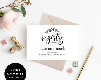Registry Cards Editable Template - Printable PDF - Rustic Modern Wedding  Registry Cards - Rustic Elegance