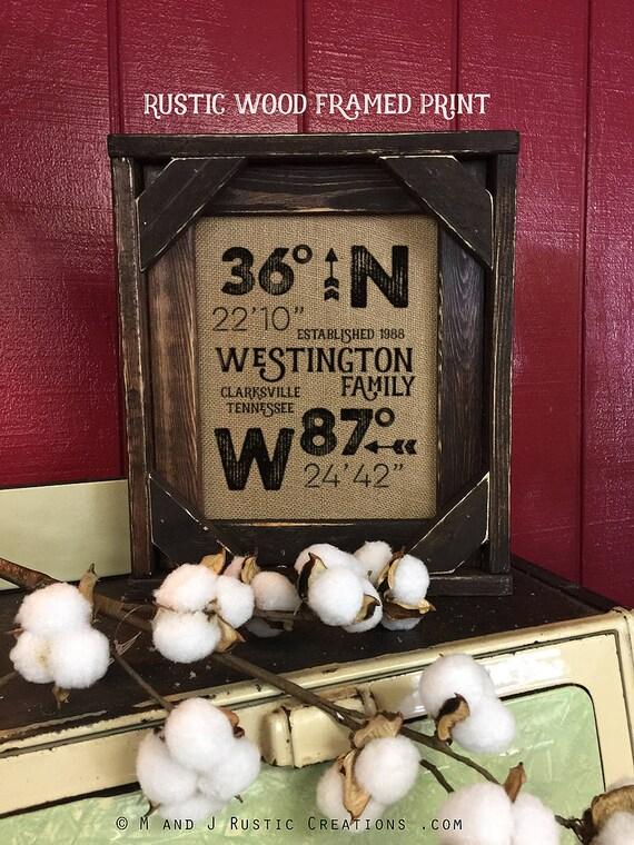 Framed Burlap Print | GPS Home Location | Lattitude Longitude | House Warming Gift | New Home | Realtor | Barn Wood | #0108