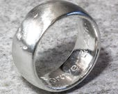 Sterling Silver 10mm Personalised Domed Sand Cast Ring