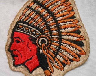 Vintage Indian Head Chief Embroidered Jacket Patch From School Letterman's Jacket? Boy Scouts? Or?
