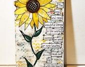 Sunflower Painted Sign, Sunflower Decor, Mixed Media Sunflower, Boho Sunflower, Helen Keller