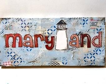 Maryland Sign, Maryland Lighthouse Sign, MD Lighthouse art, Lighthouse Decor