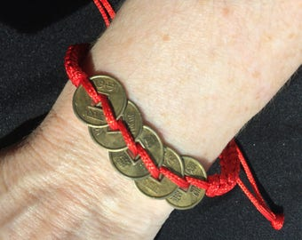Kabbalah Red String Friendship Bracelet with Copper Coins for luck and friendship, high fashion, trending, Hot Summer Trend