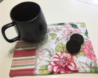 MUG RUG/SNACKMAT - Reversible Mug Rug - Reversible Snack Mat - Floral/Striped Mug Rug - Reversible