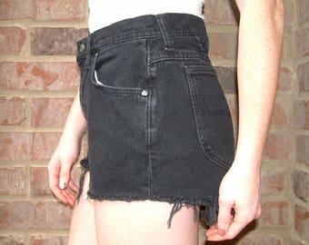 Vintage Black Denim High Waisted Shorts - Riders - S