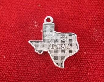 "BULK! 30pc ""I love Texas"" charms in antique silver style (BC1262B)"