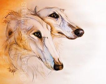 Borzoi, Watercolor, Sighthound, Greyhound, Dog Art print afmeting 8x12 inch
