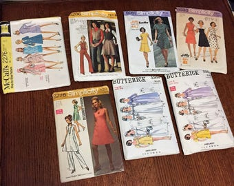 7 Vintage 1970's Patterns Simplicity, McCall's and Butterick  Great for Reuse or Crafting