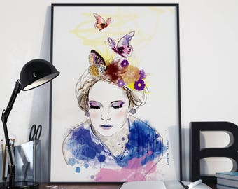 A4 print - Butterfly - Illustration - Poster frame
