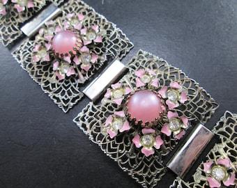 Vintage Silver Tn Filigree Pink Flower Rhinestone & Pink Cabochon Panel Bracelet Mid Century