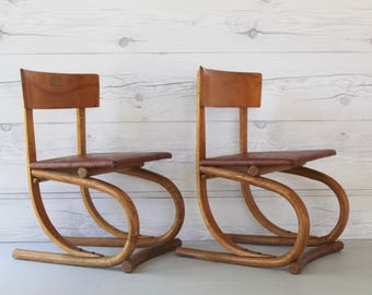 mid century pair of danish childs wood chairs vintage childrens wooden chairs