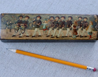 Vintage French Lacquered Wood Pencil Box Decorated with Military Figures, Vintage Plumier Wood Box