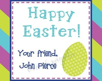 Purple, Lime, and Teal Easter Egg Personalized Gift Tags
