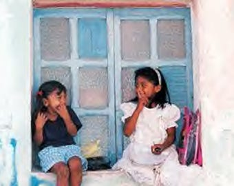 Girls waiting for school, Isla Mujeres, Mexico