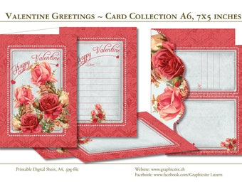 Valentines Greetings - Card Collection - Instant Download