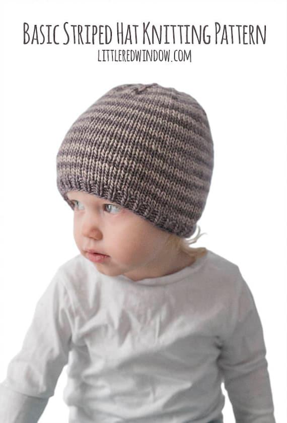 Easy Striped Baby Hat KNITTING PATTERN /Striped Hat Pattern