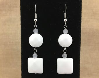 White Faceted Agate Gemstone and White Cat's Eye Dangle Earrings