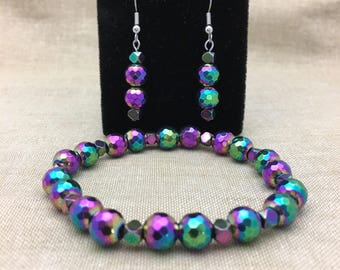Faceted Multicolored Hematite Stretch Bracelet and Dangle Earrings Set