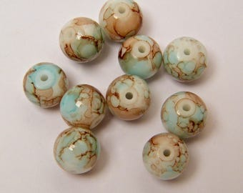 Blue, Brown beads, glass beads, round, lots of 10 pieces