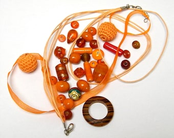 55 beads mix with organza necklace, orange, salmon, Brown