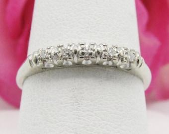 Dainty Vintage Art Deco Diamond Wedding Band Ring 14k White Gold