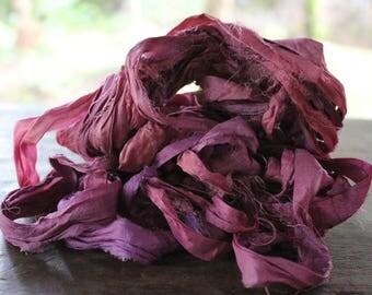 Recycled Sari silk ribbon - Pink Hue