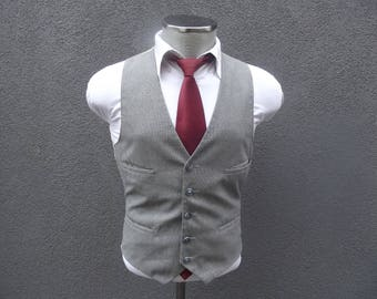 1960s Vintage Waistcoat / Gray Pinstripe Vest / Wool Waistcoat / 60s Vintage Striped Vest / Wool Vest Size 38 Medium / Med / M / Mens Vest